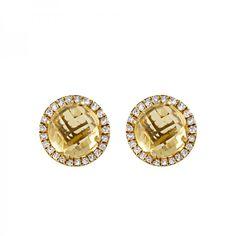 Pendientes presion con piedra redonda con orla de diamantes en plata/ oro amarillo