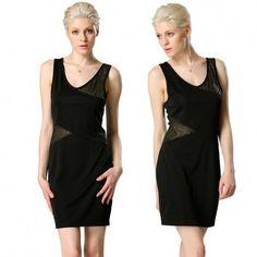 Stylish Ladies Women Sexy V Neck Sleeveless Backless Patchwork Casual Mini Dress