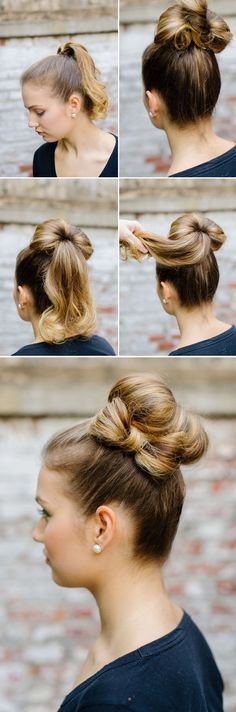 The cutest bun! Click on the picture then scroll down to find a bunch more hair ideas for long hair.
