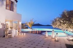 Nighttime at the Elounda Gulf Villas & Suites in Greece