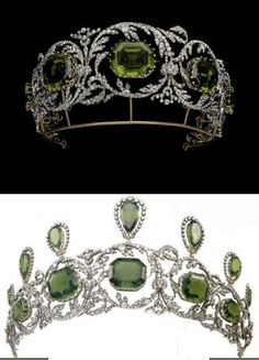 Tiara of the Archduchess Isabella of Austria - The Habsburg Peridot Parure. 7 of the pendants from the necklace can be set upright on the tiara for its second form. A delicate floral motif runs through all of the pieces in the parure, including the tiara. Royal Crowns, Royal Tiaras, Tiaras And Crowns, Royal Jewelry, Fine Jewelry, Antique Jewelry, Vintage Jewelry, Diamond Tiara, Family Jewels