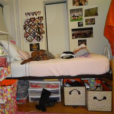 My hulen clement dorm room at texas tech i absolutely - Dorm underbed storage ideas ...
