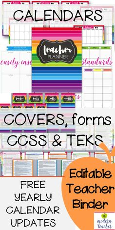 Editable Teacher Binder, loads of organizational forms, THIS saved my life!!!! Common Core State Standards and TEKS included, editable in text fields, $, FREE YEARLY UPDATES, tons of designs to choose from: printer friendly or colorful-lots to choose from