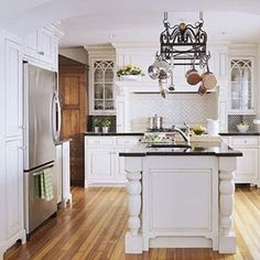 encased refrigerator  mantel stove  Traditional Kitchen Ideas kitchen
