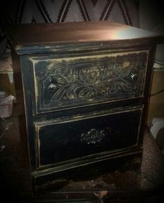 Cheap distressed pressed board nightstand
