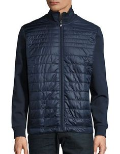 Boss Green Pizzoli Quilted Knit Jacket Men's Navy Large