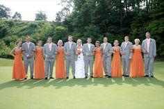 orange bridesmaid grey groomsman   ... orange and gray wedding party tags orange bridal party vendor location