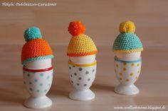 Häkeln : Pudelmützen als Eierwärmer häkeln - mit Pompons, kleines Geschenk zu Ostern, Geburtstag oder Mitbringsel für Einladungen; mit Anleitung