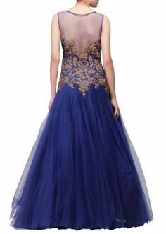 Blue gown featuring with embroidered bodice only on Kalki Party Wear Dresses, Prom Dresses, Formal Dresses, Wedding Dresses, Lehenga Choli Online, Ghagra Choli, Indian Dresses, Indian Outfits, Gowns Of Elegance Glamour