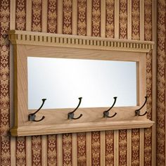 Mirrored Solid Oak Coat Rack with Triple Coat Hooks - Antique Brass - Cherry Finish