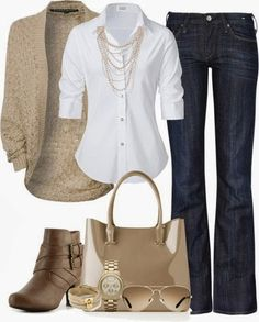White shirt, nice jeans, short boots,  yes. A different color jacket, not taupe.