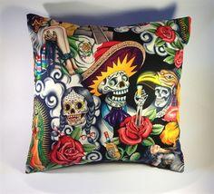 Handmade day of the dead Aztec cushion