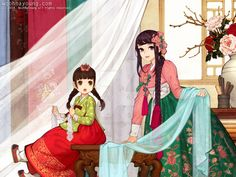 Norigae is the most famous accessory of Hanbok, which hung from the ribbon of Jeogori (Goreum). It is basically comprised of a string + decorative knots + jewelry + a tasse. Korean Illustration, Illustration Art, Korean Art, Asian Art, Korean Traditional, Traditional Outfits, Chibi, Korean Painting, Korean Hanbok