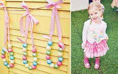 painted wooden bead necklace favors for a candy gumball party