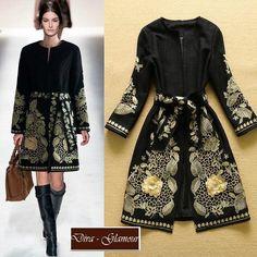 luxusný dámsky prechodný kabát s výšivkou