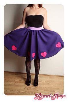Purple Pink HEART Skirt Handmade Diy Lolita High Waisted BOW. $45.00, via Etsy.