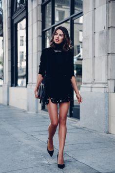 Mini Skirt x Roll-Neck Sweater x Velvet Blazer