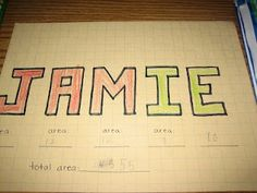 area and perimeter name activity for my math classes