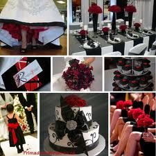 red, black and white wedding ideas
