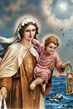 Estampa antigua de la Virgen del Carmen