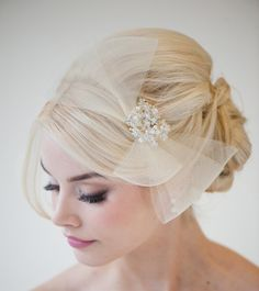 Wedding Head Piece Bridal Hair Accessory Ivory by PowderBlueBijoux