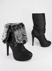 fur cuff leatherette boot