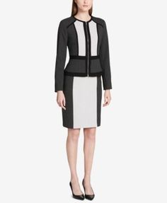 Calvin Klein Colorblocked Jacquard Jacket, Regular & Petite - Black/Cream 10P