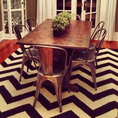 A little chevron to spice up the dining room. Got this rug on The Foundary. #chevron