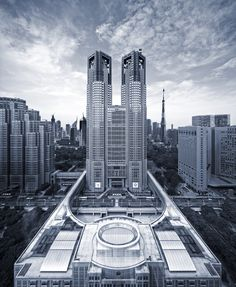 東京都庁(東京・新宿) Tokyo Government buildings, Shinjuku, Tokyo, Japan ***NOTE: background is fake - not the actual location of TokyoTower