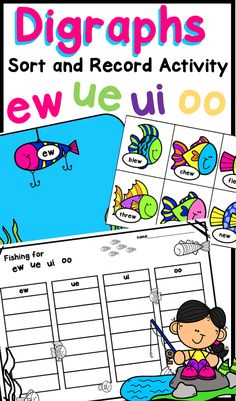 Fun and engaging digraphs activity for ew, ue, ui, and oo! Students place the correct fish on the correct matching pond! Literacy Games, Phonics Activities, Vowel Digraphs, Alphabet Coloring Pages, Tracing Letters, Vowel Sounds, Spanish Language Learning, Phonemic Awareness, Travel Quotes