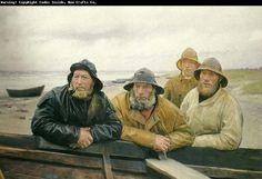 Michael Peter Ancher (1849-1927): fire fiskere ved en bad pa skagens strand