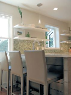 white kitchen with floating shelves Love love love it