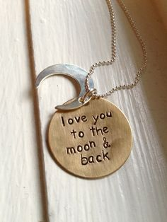 Moon Necklace- I Love You To The Moon and Back, Daughter gift, birthday gift, anniversary gift, wedding surprise, Silver Charm on Etsy, $18.00