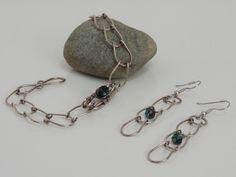 Handmade Vintage Look Sterling Silver Bracelet and Earrings by SeaWaveStudio