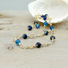 Blue Gemstone Anklet Dainty Gold Jewelry by ReneeBrownsDesigns blue agat, gemston anklet
