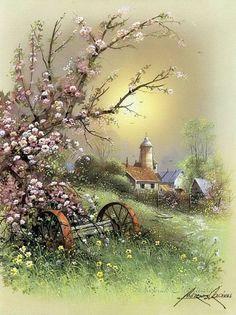 Dyskusja na liveinternet - Rosyjski serwis internetowy Diaries Watercolor Landscape, Landscape Art, Landscape Paintings, Watercolor Paintings, Pictures To Paint, Art Pictures, Beautiful Paintings, Beautiful Landscapes, Art Carte