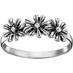 Primrose Sterling Silver Daisy Ring ($16) ❤ liked on Polyvore featuring jewelry, rings, grey, grey jewelry, daisy ring, charm jewelry, charm rings and sterling silver charms