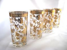 Culver Glasses High Ball Gold Chantilly Signed - Mint. $38.00, via Etsy.