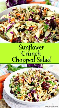Crunchy, healthy, and completely addictive. This Sunflower Crunch Chopped Salad has it ALL going on! Crunchy, healthy, and completely addictive. This Sunflower Crunch Chopped Salad has it ALL going on! Kale And Cabbage Recipe, Cabbage Salad Recipes, Chopped Salad Recipes, Healthy Salad Recipes, Vegetarian Recipes, Cooking Recipes, Chopped Salads, Dinner Salad Recipes, Simple Salad Recipes