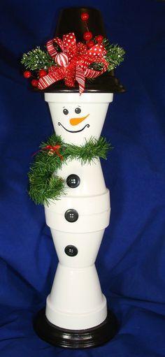 Terracotta Snowman, Clay Pots, Terra Cotta Pots, Pot Snowman, DIY, Winter, Holiday, Christmas, Snowman
