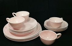 Vintage Monterey Art Pottery Pink Speckled Dinnerware Lot Mid-Century California