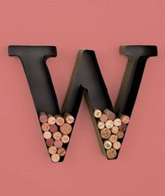 Metal Monogram Letter Shaped Initial Wine Cork Holder Wall Art Nice Gift Idea | eBay