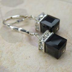 Black Earrings, Sterling Silver, Onyx Swarovski Crystal Cube, Modern, Dangle, Wedding Bridesmaid Handmade Jewelry, Winter Accessories
