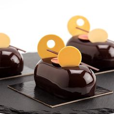 Chocolate and mango petit gateaux