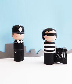 Cops and Robbers - Kokeshi Dolls - Sketchinc
