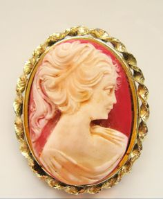 Large Vintage Amber Peach Cameo Broach Pin by resurrections, $34.92