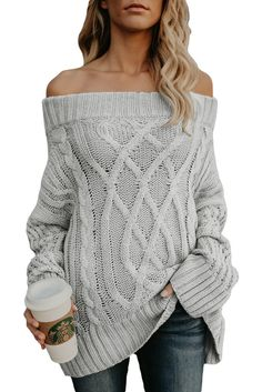 5ed08e5320e0da Z| Chicloth Gray Off The Shoulder Winter Sweater #sweater Cable Knit  Sweaters, Long