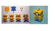 minions hama beads 3d Perler Bead, Perler Beads, Hama Mini, Minions, Cross Stitch, Disney, Patterns, Needlepoint, Punto Croce
