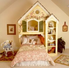 Imagine the sweet and wonderful dreams your daughters will have when going to sleep in this delightful Home Sweet Home Bunk Bed. This unique Maryville Collection bed is a beautiful space saving solution for your children who want to. Bedroom Themes, Girls Bedroom, Bedroom Decor, Garden Bedroom, Fairy Bedroom, Bedroom Bed, Bedroom Furniture, House Beds, Beatrix Potter