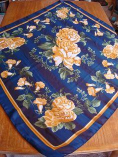 """Vintage Large 41"""" x 40"""" Ladies Scarf with Flowers #Unbranded #Scarf"""